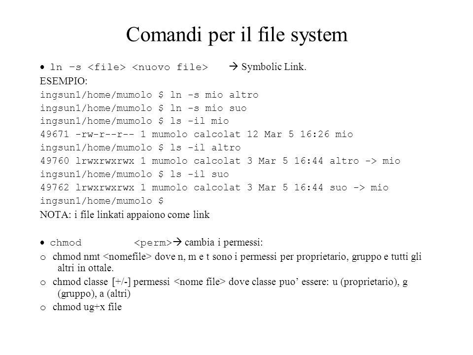 Comandi per il file system ln –s Symbolic Link. ESEMPIO: ingsun1/home/mumolo $ ln -s mio altro ingsun1/home/mumolo $ ln -s mio suo ingsun1/home/mumolo
