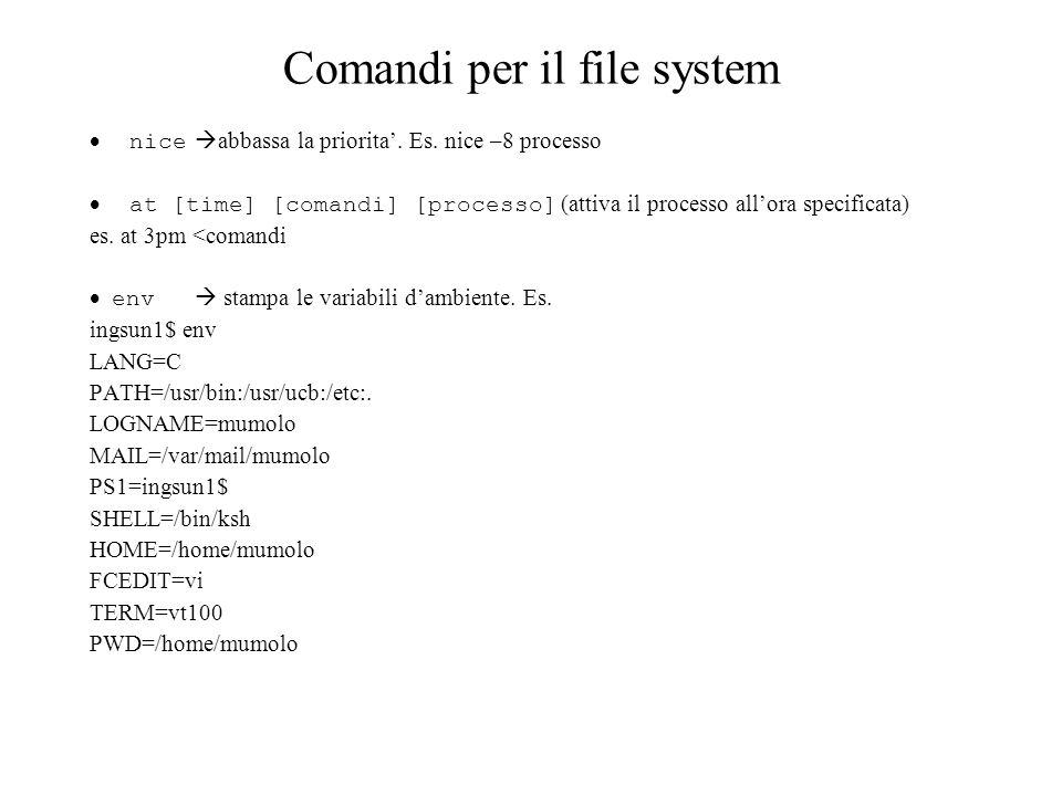 Comandi per il file system nice abbassa la priorita. Es. nice –8 processo at [time] [comandi] [processo] (attiva il processo allora specificata) es. a