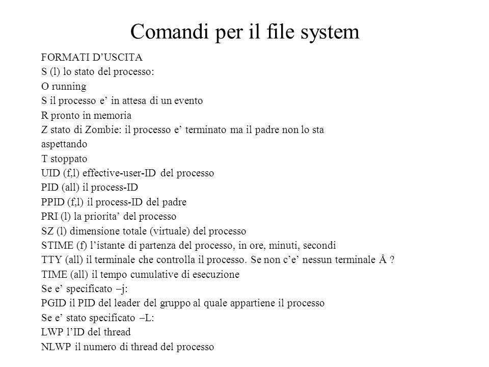 Comandi per il file system FORMATI DUSCITA S (l) lo stato del processo: O running S il processo e in attesa di un evento R pronto in memoria Z stato d