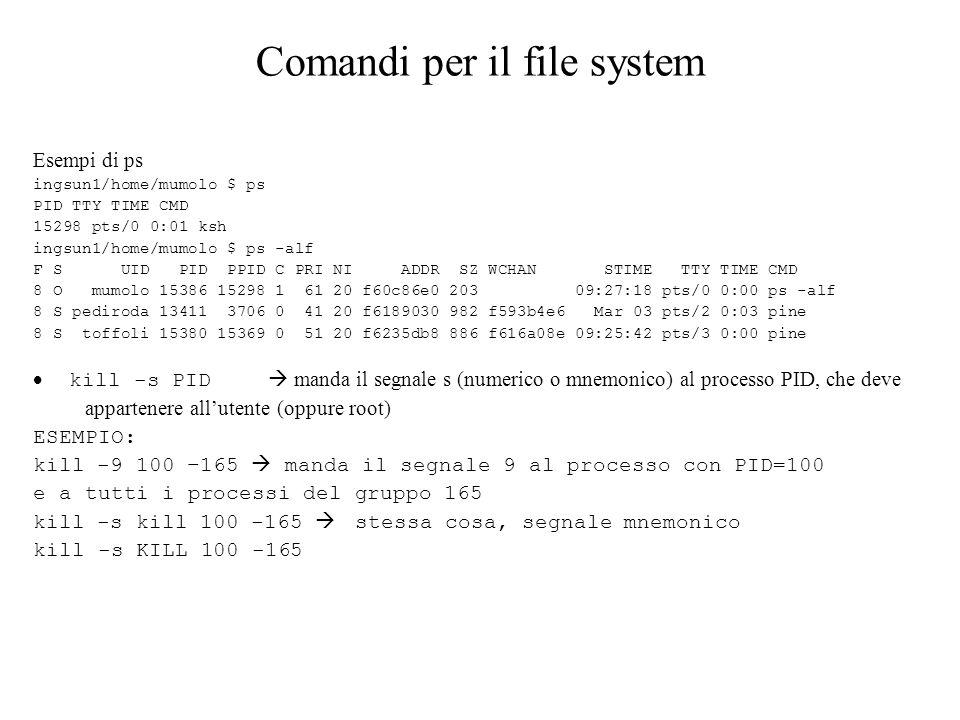 Comandi per il file system Esempi di ps ingsun1/home/mumolo $ ps PID TTY TIME CMD 15298 pts/0 0:01 ksh ingsun1/home/mumolo $ ps -alf F S UID PID PPID