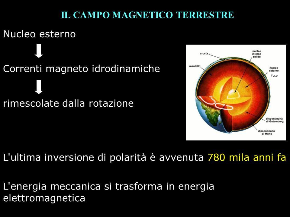 IL PALEOMAGNETISMO Sostanze diamagnetiche: non risentono dellinduzione magnetica m = 0 (momento magnetico annullato dal momento angolare) (rame, argento, gas nobili) Sostanze paramagnetiche: risentono parzialmente, temporaneamente m = 0 durante linflusso del campo magnetico B, poi ritorna alla situazione di partenza (platino, alluminio) Sostanze ferromagnetiche: risentono in modo permanente dellinduzione magnetica, gli elettroni formano DOMINI isorientati.