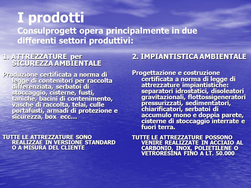 I prodotti Consulprogett opera principalmente in due differenti settori produttivi: 1. ATTREZZATURE per SICUREZZA AMBIENTALE Produzione certificata a