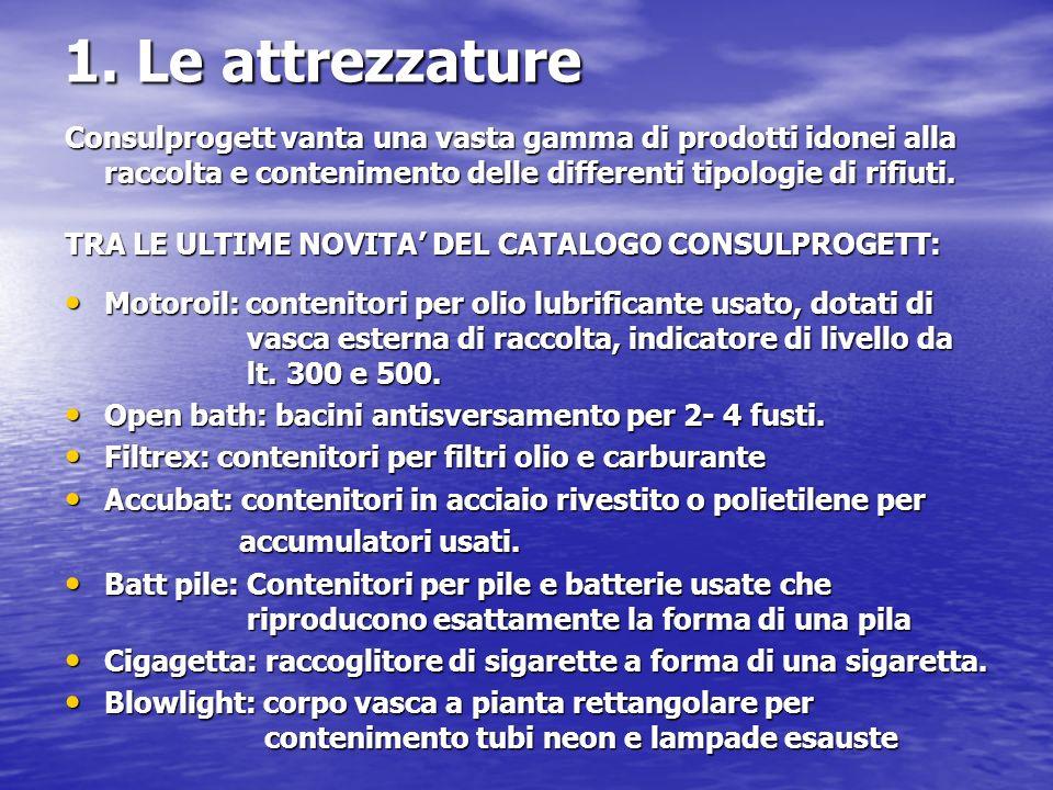 1. Le attrezzature Consulprogett vanta una vasta gamma di prodotti idonei alla raccolta e contenimento delle differenti tipologie di rifiuti. TRA LE U