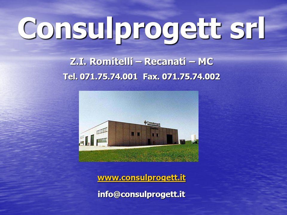 Consulprogett srl Z.I. Romitelli – Recanati – MC Tel. 071.75.74.001 Fax. 071.75.74.002 www.consulprogett.it info@consulprogett.it