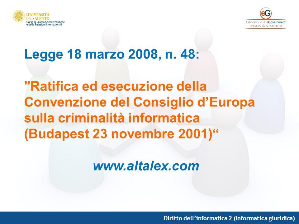 Diritto dellinformatica 2 (Informatica giuridica) Legge 18 marzo 2008, n. 48: