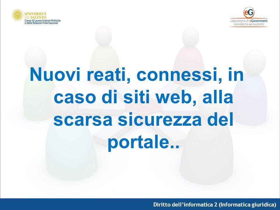 Diritto dellinformatica 2 (Informatica giuridica) Nuovi reati, connessi, in caso di siti web, alla scarsa sicurezza del portale..