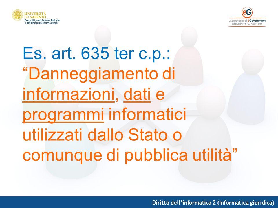 Diritto dellinformatica 2 (Informatica giuridica) Es. art. 635 ter c.p.: Danneggiamento di informazioni, dati e programmi informatici utilizzati dallo