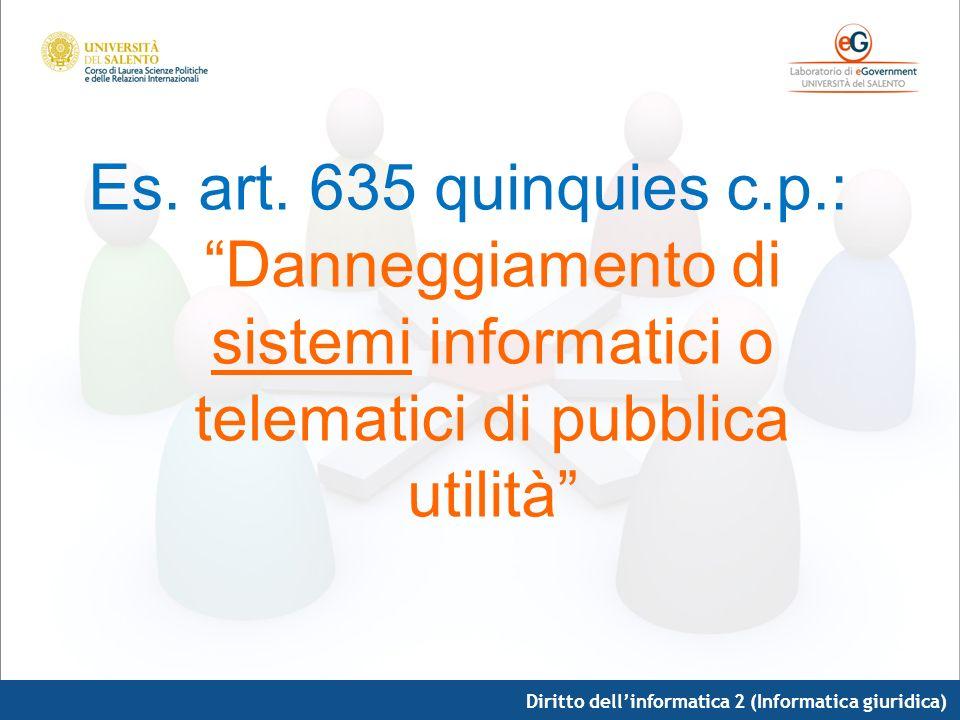 Diritto dellinformatica 2 (Informatica giuridica) Es. art. 635 quinquies c.p.: Danneggiamento di sistemi informatici o telematici di pubblica utilità