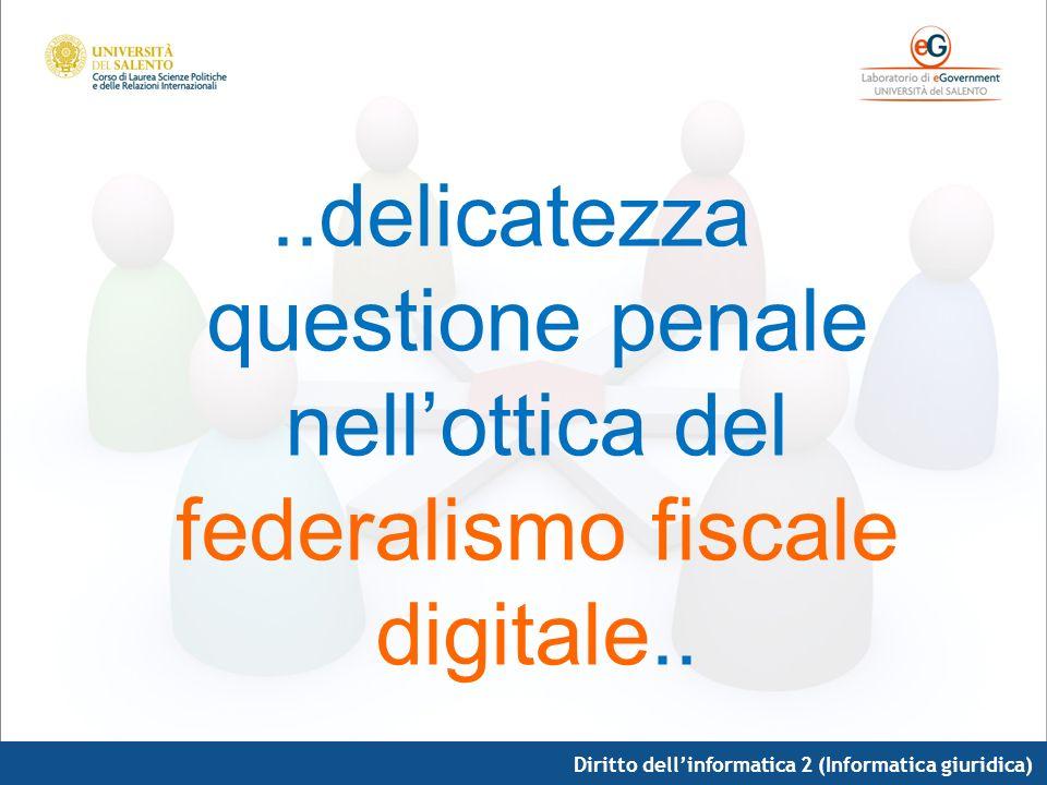Diritto dellinformatica 2 (Informatica giuridica)..delicatezza questione penale nellottica del federalismo fiscale digitale..
