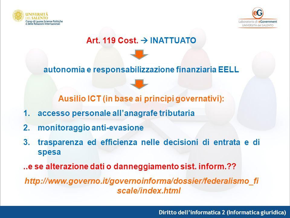 Diritto dellinformatica 2 (Informatica giuridica) Art. 119 Cost. INATTUATO autonomia e responsabilizzazione finanziaria EELL Ausilio ICT (in base ai p