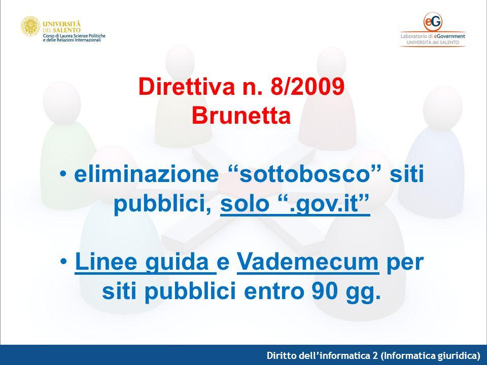Diritto dellinformatica 2 (Informatica giuridica) Direttiva n. 8/2009 Brunetta eliminazione sottobosco siti pubblici, solo.gov.it Linee guida e Vademe