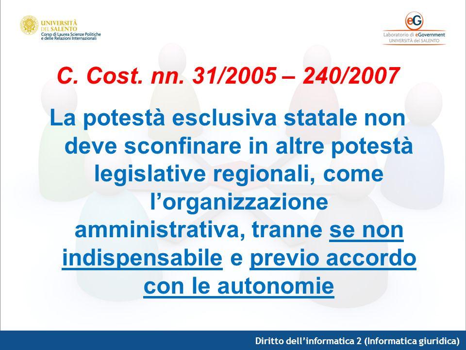 Diritto dellinformatica 2 (Informatica giuridica) C. Cost. nn. 31/2005 – 240/2007 La potestà esclusiva statale non deve sconfinare in altre potestà le