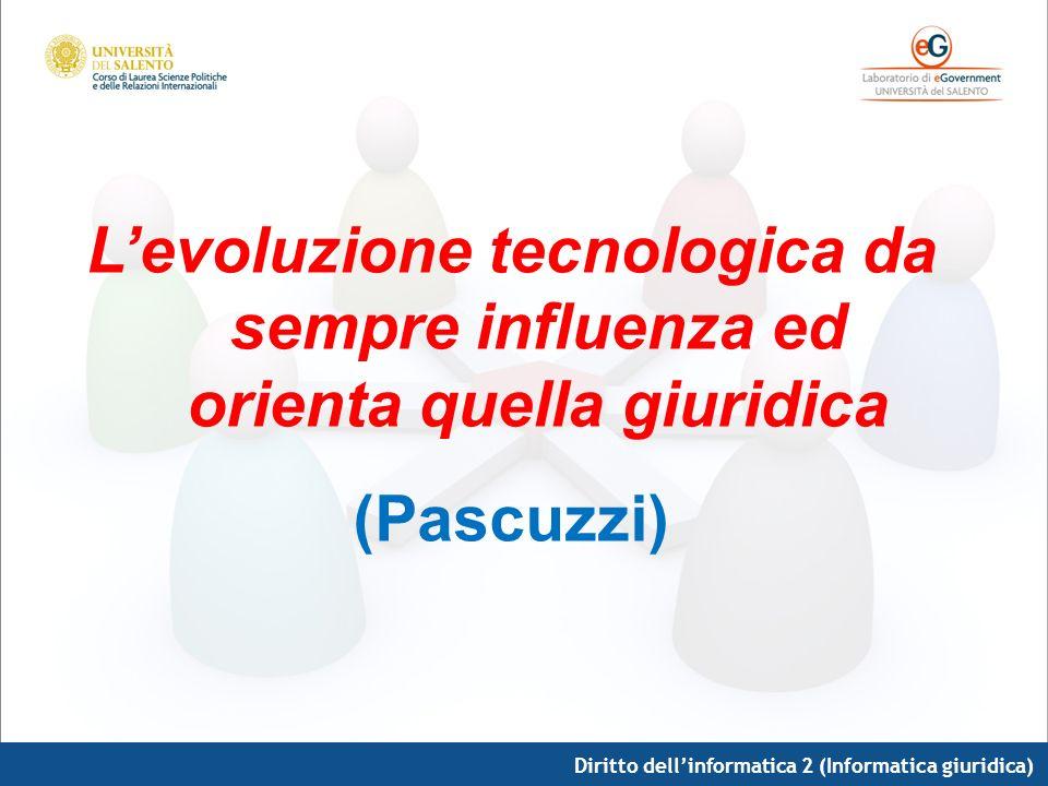 Diritto dellinformatica 2 (Informatica giuridica) In Italia tre fasi: 1.dal 2001 al 2003 (primi progetti per 120 mln) 2.fino al 2005 (ampliamento) 3.ad oggi ancora in corso, avviatasi con lapprovazione nel 2005 del Codice dellAmministrazione Digitale (DLgs n.