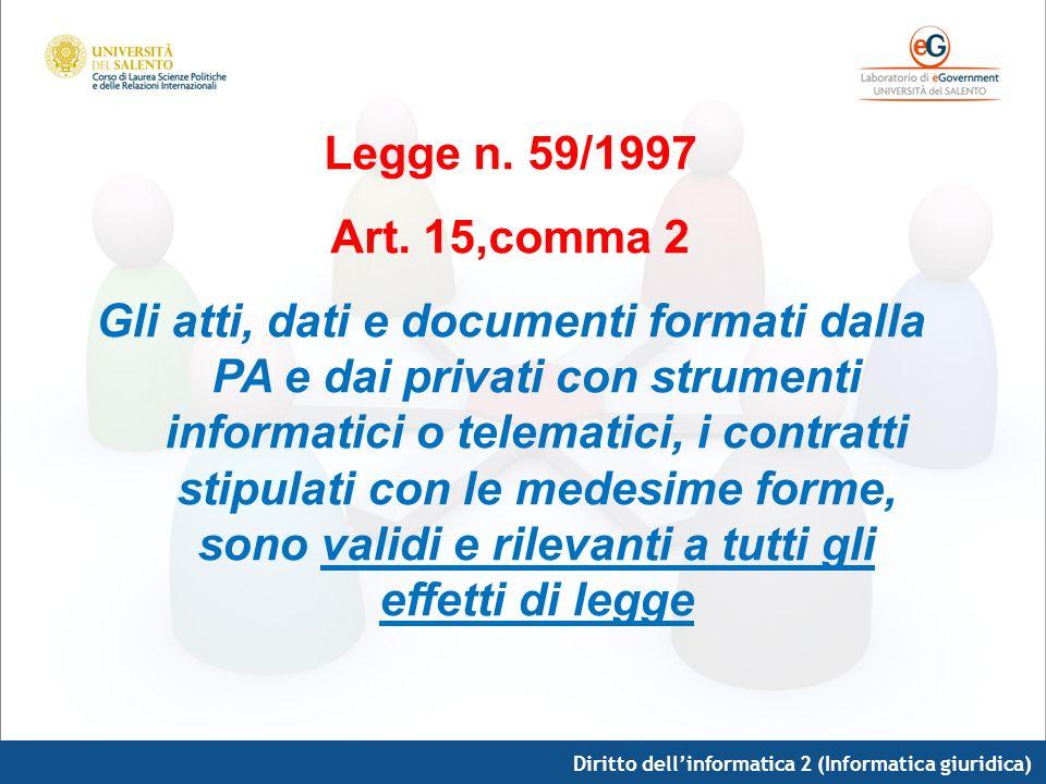 Legge n. 59/1997 Art. 15,comma 2 Gli atti, dati e documenti formati dalla PA e dai privati con strumenti informatici o telematici, i contratti stipula