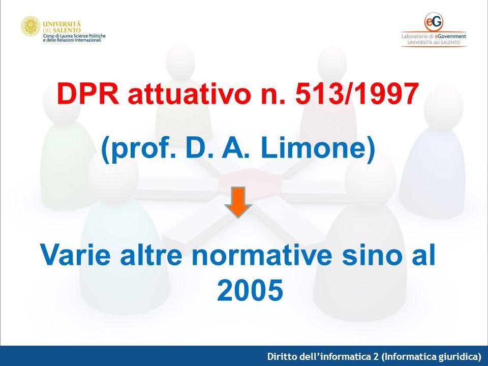 Diritto dellinformatica 2 (Informatica giuridica) DPR attuativo n. 513/1997 (prof. D. A. Limone) Varie altre normative sino al 2005