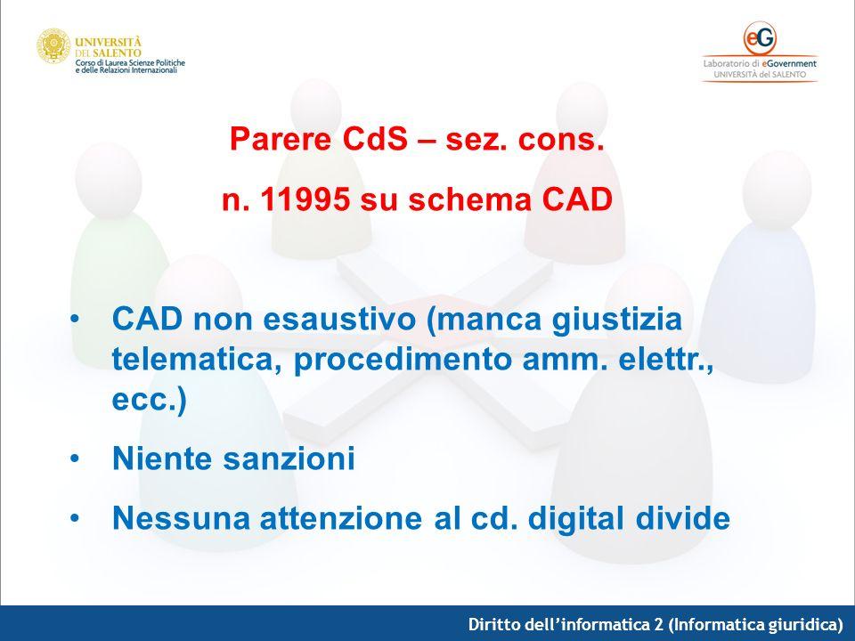 Diritto dellinformatica 2 (Informatica giuridica) Parere CdS – sez. cons. n. 11995 su schema CAD CAD non esaustivo (manca giustizia telematica, proced
