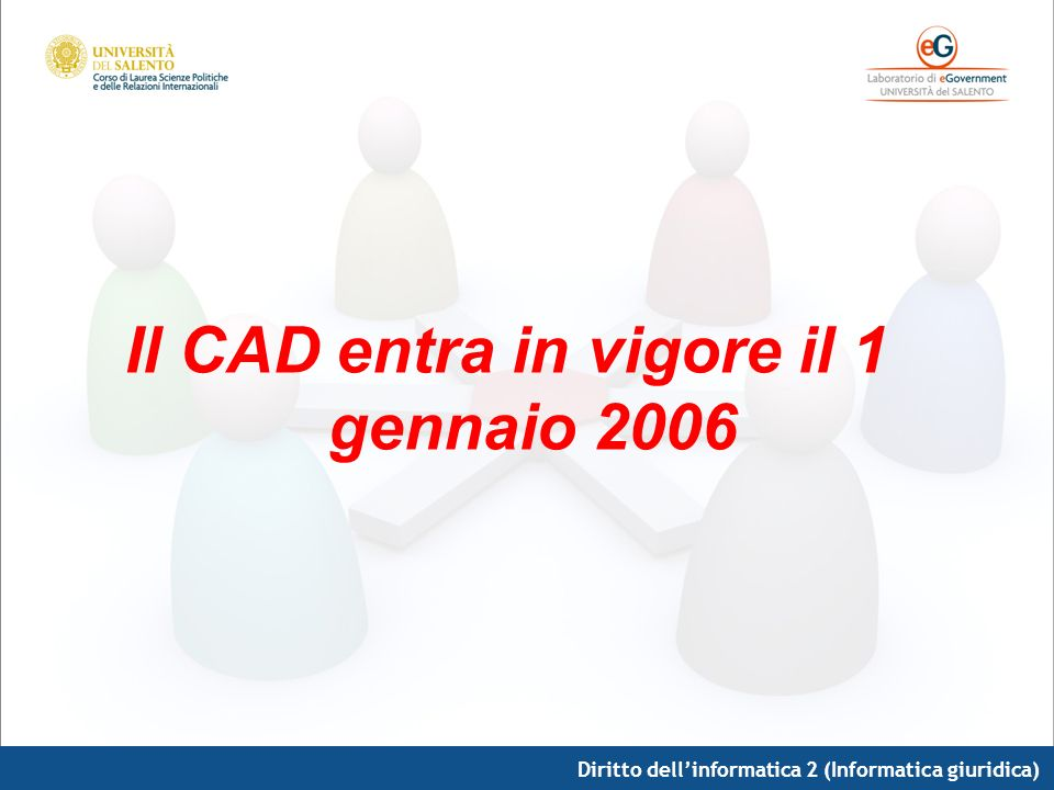 Diritto dellinformatica 2 (Informatica giuridica) Il CAD entra in vigore il 1 gennaio 2006