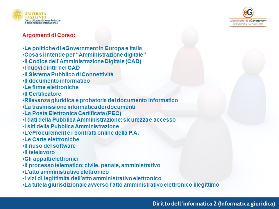 Diritto dellinformatica 2 (Informatica giuridica) Testi di riferimento: Wanda DAvanzo, Le-government, Movimedia, Lecce, 2007 Dispense a cura del docente inviate tramite mailing list