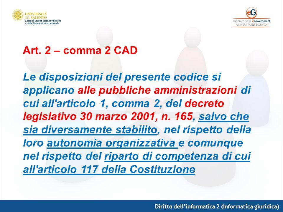 Diritto dellinformatica 2 (Informatica giuridica) Art. 2 – comma 2 CAD Le disposizioni del presente codice si applicano alle pubbliche amministrazioni