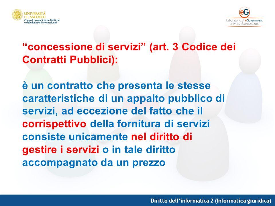 Diritto dellinformatica 2 (Informatica giuridica) concessione di servizi (art. 3 Codice dei Contratti Pubblici): è un contratto che presenta le stesse