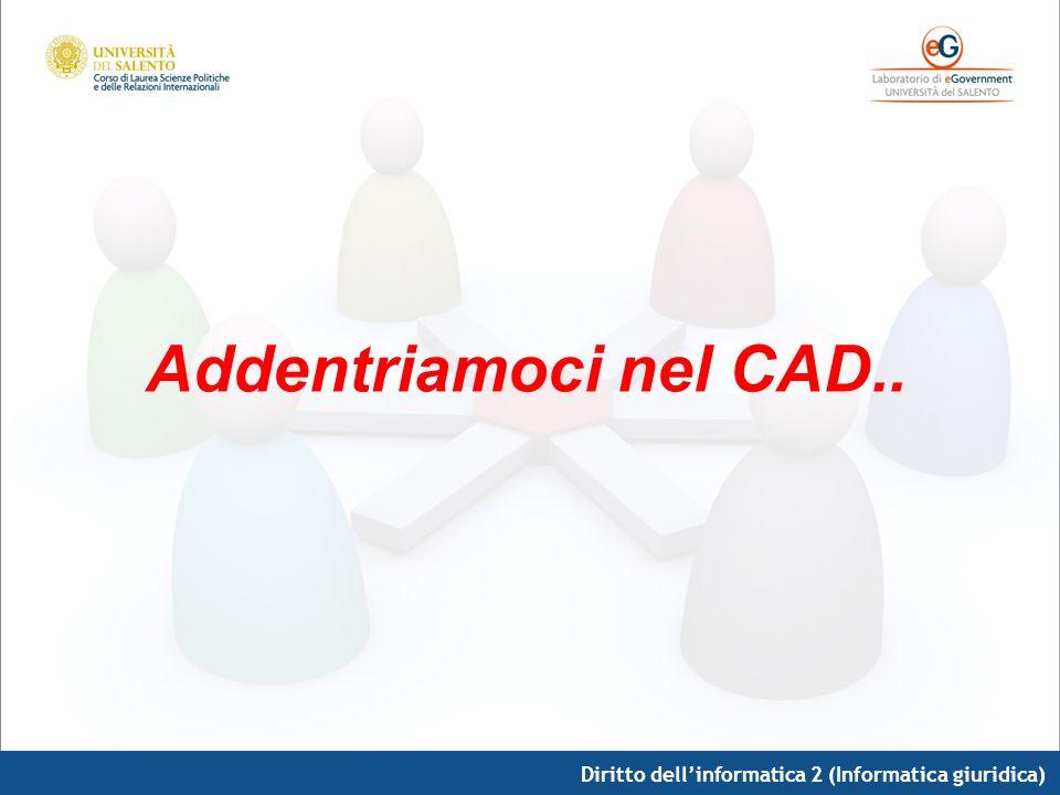 Diritto dellinformatica 2 (Informatica giuridica) Addentriamoci nel CAD..