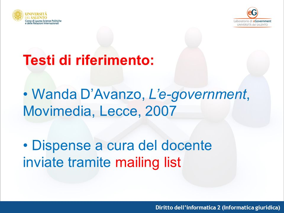 Diritto dellinformatica 2 (Informatica giuridica) Testi di riferimento: Wanda DAvanzo, Le-government, Movimedia, Lecce, 2007 Dispense a cura del docen