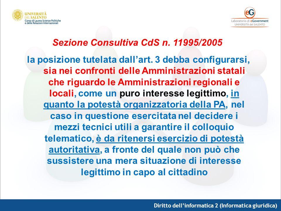 Diritto dellinformatica 2 (Informatica giuridica) Sezione Consultiva CdS n. 11995/2005 la posizione tutelata dallart. 3 debba configurarsi, sia nei co