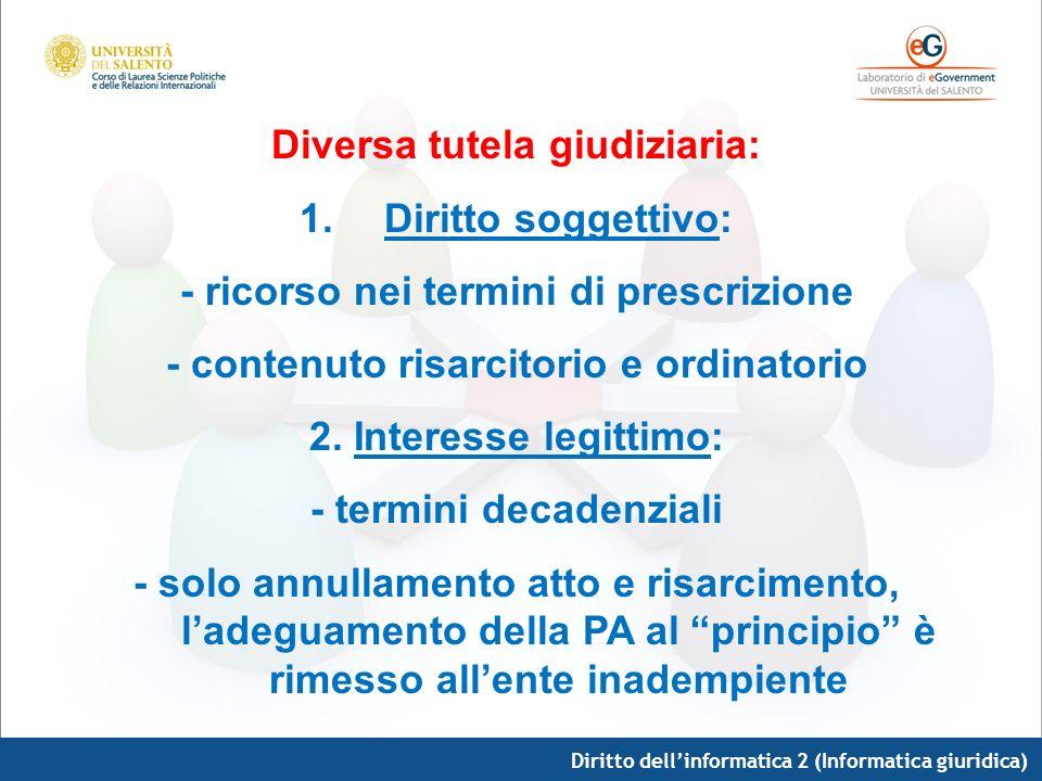 Diritto dellinformatica 2 (Informatica giuridica) Diversa tutela giudiziaria: 1.Diritto soggettivo: - ricorso nei termini di prescrizione - contenuto