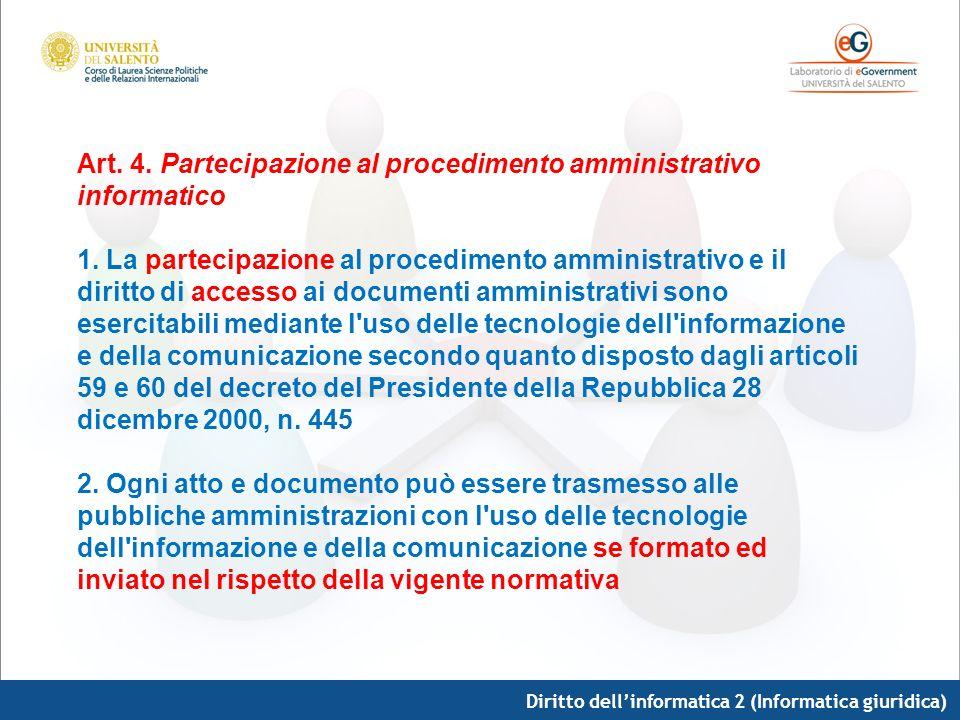 Diritto dellinformatica 2 (Informatica giuridica) Art. 4. Partecipazione al procedimento amministrativo informatico 1. La partecipazione al procedimen