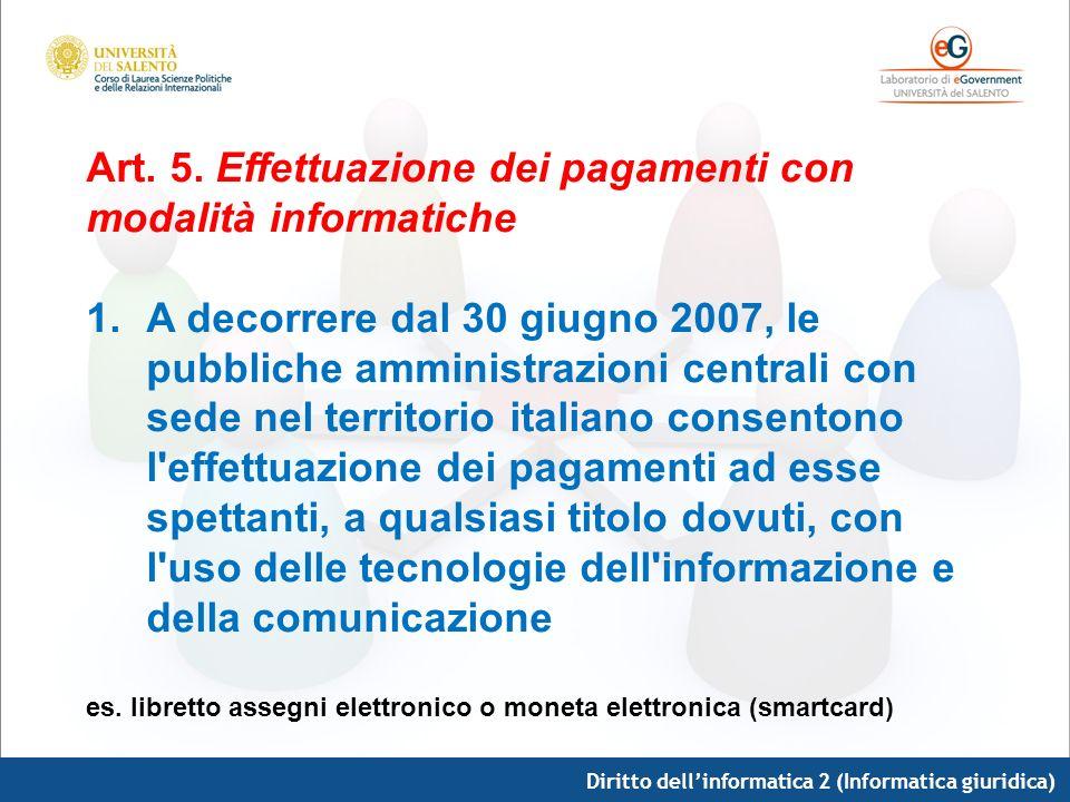 Diritto dellinformatica 2 (Informatica giuridica) Art. 5. Effettuazione dei pagamenti con modalità informatiche 1.A decorrere dal 30 giugno 2007, le p