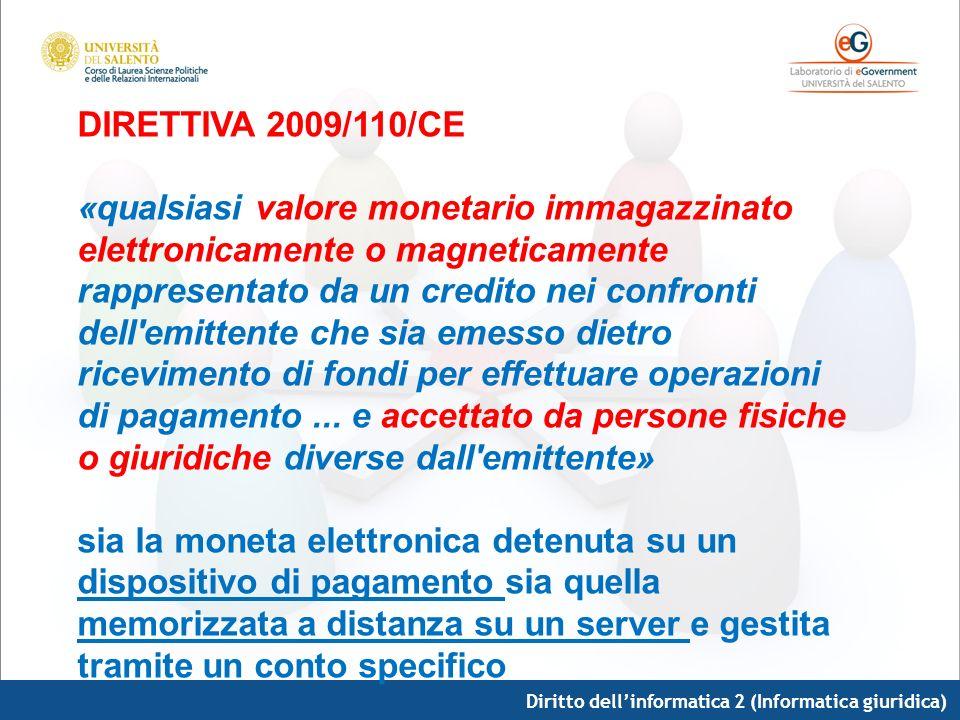 Diritto dellinformatica 2 (Informatica giuridica) DIRETTIVA 2009/110/CE «qualsiasi valore monetario immagazzinato elettronicamente o magneticamente ra