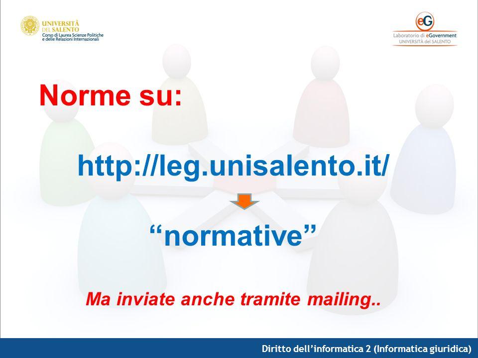 Diritto dellinformatica 2 (Informatica giuridica) Siti di approfondimento su: http://leg.unisalento.it Links In particolare: www.funzionepubblica.it www.riformabrunetta.it www.cnipa.it