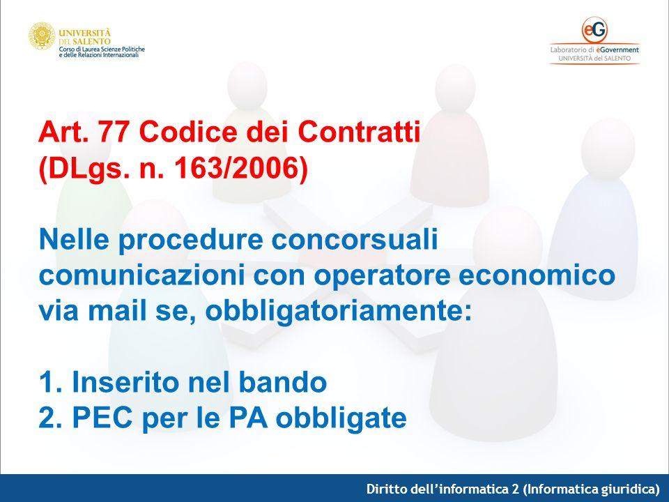 Art. 77 Codice dei Contratti (DLgs. n. 163/2006) Nelle procedure concorsuali comunicazioni con operatore economico via mail se, obbligatoriamente: 1.I