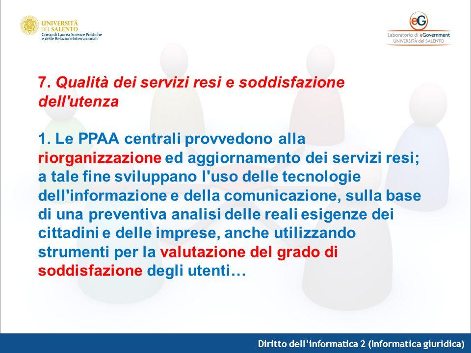 Diritto dellinformatica 2 (Informatica giuridica) 7. Qualità dei servizi resi e soddisfazione dell'utenza 1. Le PPAA centrali provvedono alla riorgani