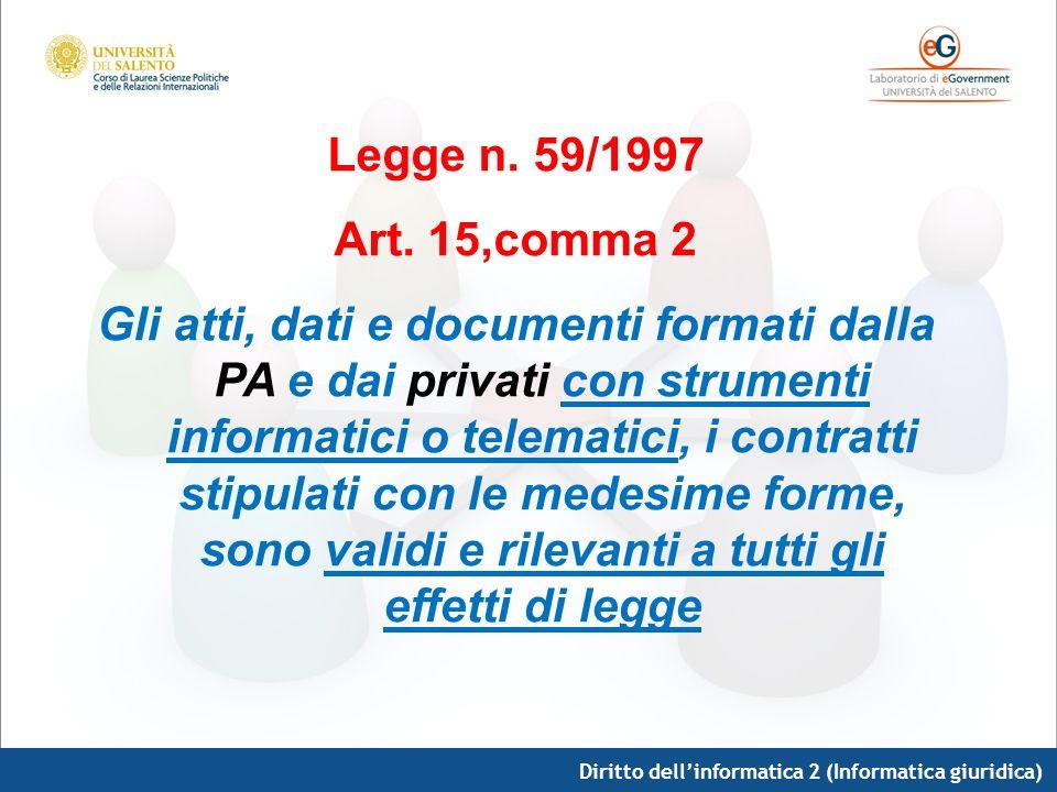 Diritto dellinformatica 2 (Informatica giuridica) Legge n. 59/1997 Art. 15,comma 2 Gli atti, dati e documenti formati dalla PA e dai privati con strum