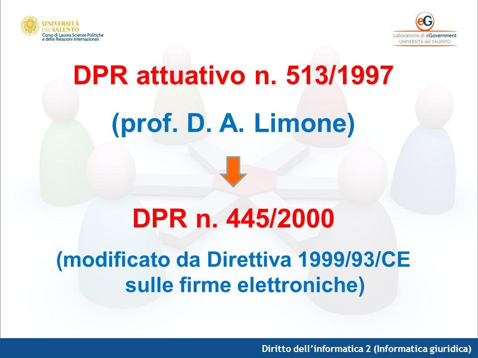 Diritto dellinformatica 2 (Informatica giuridica) DPR attuativo n. 513/1997 (prof. D. A. Limone) DPR n. 445/2000 (modificato da Direttiva 1999/93/CE s