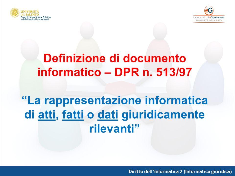 Diritto dellinformatica 2 (Informatica giuridica) Definizione di documento informatico – DPR n. 513/97 La rappresentazione informatica di atti, fatti