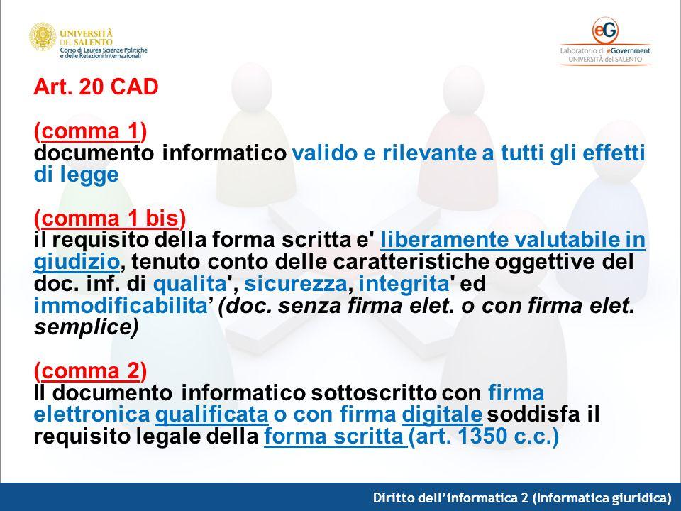 Diritto dellinformatica 2 (Informatica giuridica) Art. 20 CAD (comma 1) documento informatico valido e rilevante a tutti gli effetti di legge (comma 1