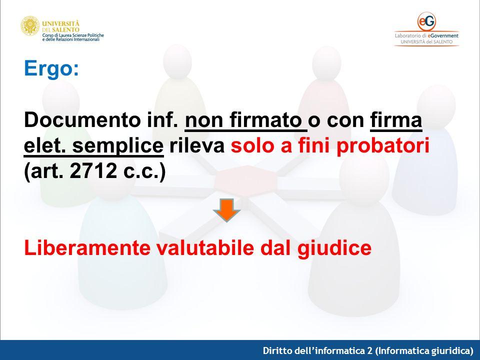 Diritto dellinformatica 2 (Informatica giuridica) Ergo: Documento inf. non firmato o con firma elet. semplice rileva solo a fini probatori (art. 2712