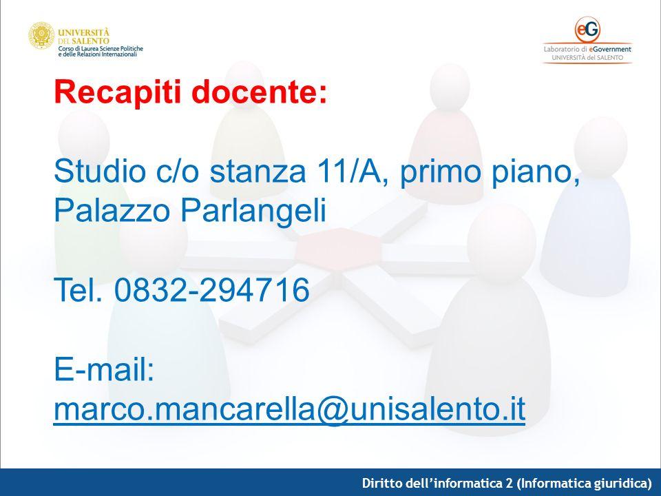 Diritto dellinformatica 2 (Informatica giuridica) Recapiti docente: Studio c/o stanza 11/A, primo piano, Palazzo Parlangeli Tel. 0832-294716 E-mail: m
