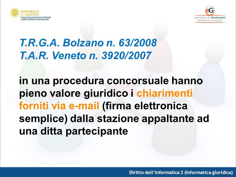 Diritto dellinformatica 2 (Informatica giuridica) T.R.G.A. Bolzano n. 63/2008 T.A.R. Veneto n. 3920/2007 in una procedura concorsuale hanno pieno valo