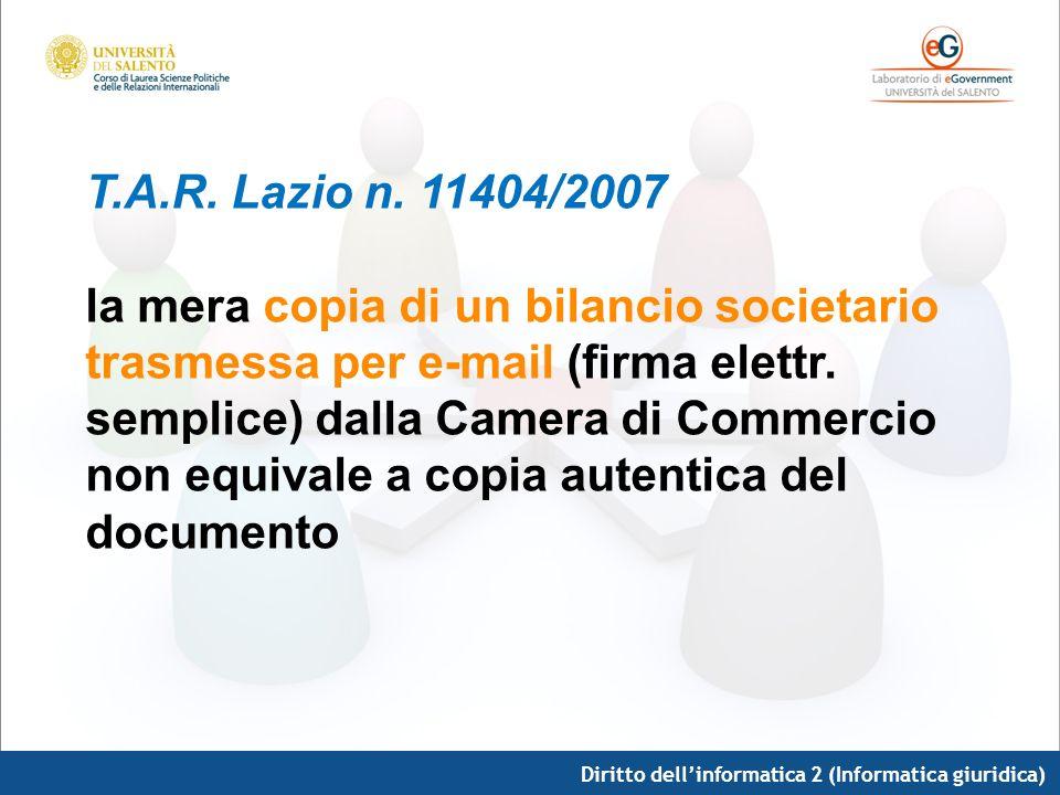 Diritto dellinformatica 2 (Informatica giuridica) T.A.R. Lazio n. 11404/2007 la mera copia di un bilancio societario trasmessa per e-mail (firma elett