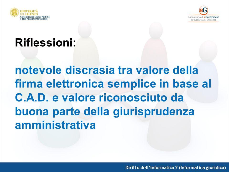 Diritto dellinformatica 2 (Informatica giuridica) Riflessioni: notevole discrasia tra valore della firma elettronica semplice in base al C.A.D. e valo