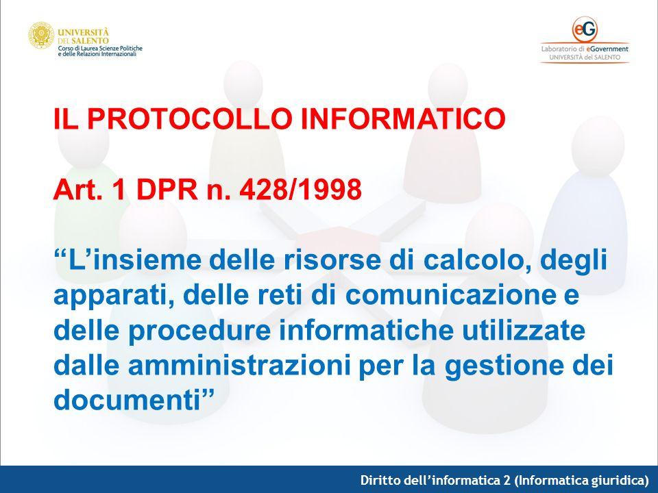 Diritto dellinformatica 2 (Informatica giuridica) IL PROTOCOLLO INFORMATICO Art. 1 DPR n. 428/1998 Linsieme delle risorse di calcolo, degli apparati,