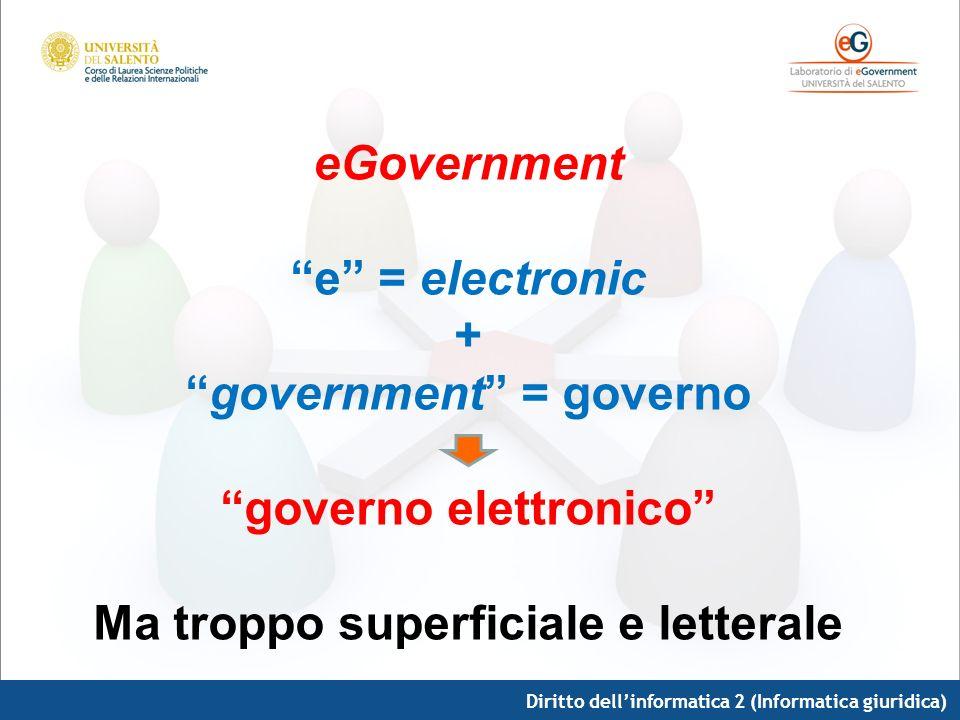 Diritto dellinformatica 2 (Informatica giuridica) eGovernment e = electronic + government = governo governo elettronico Ma troppo superficiale e lette