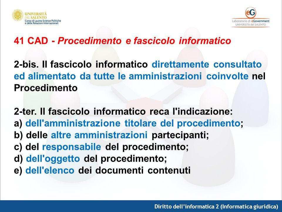 Diritto dellinformatica 2 (Informatica giuridica) 41 CAD - Procedimento e fascicolo informatico 2-bis. Il fascicolo informatico direttamente consultat