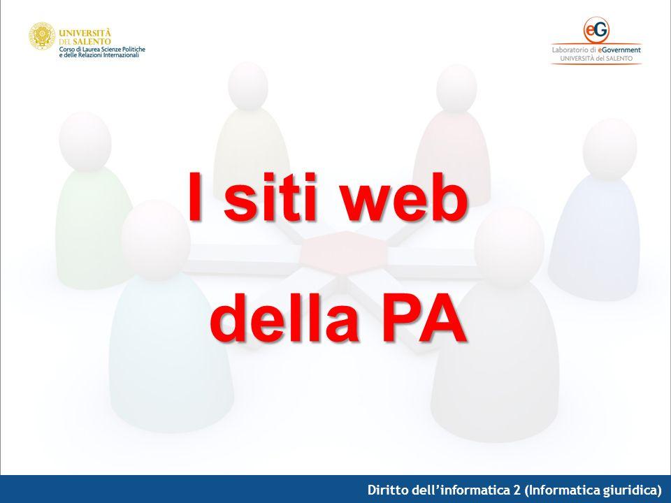 Diritto dellinformatica 2 (Informatica giuridica) I siti web della PA della PA
