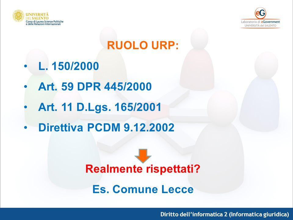 Diritto dellinformatica 2 (Informatica giuridica) RUOLO URP: L. 150/2000 Art. 59 DPR 445/2000 Art. 11 D.Lgs. 165/2001 Direttiva PCDM 9.12.2002 Realmen