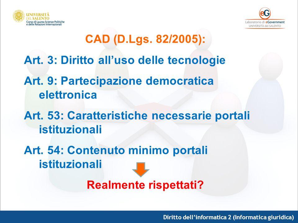 CAD (D.Lgs. 82/2005): Art. 3: Diritto alluso delle tecnologie Art. 9: Partecipazione democratica elettronica Art. 53: Caratteristiche necessarie porta