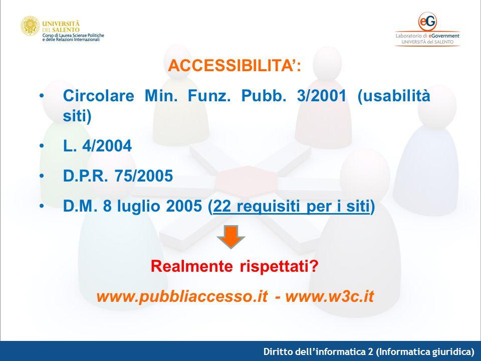 Diritto dellinformatica 2 (Informatica giuridica) ACCESSIBILITA: Circolare Min. Funz. Pubb. 3/2001 (usabilità siti) L. 4/2004 D.P.R. 75/2005 D.M. 8 lu